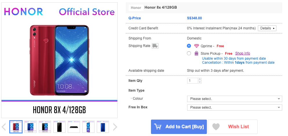 honor 8x singapore prices
